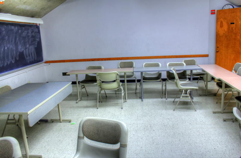 Classroom with five tables.