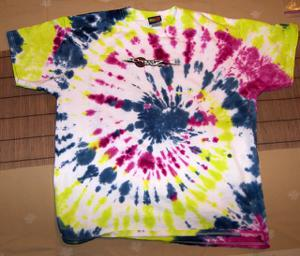 a colorful tie dye t-shirt