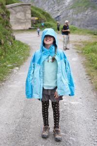 girl wearing a raincoat