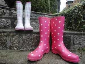 two pairs of rain boots