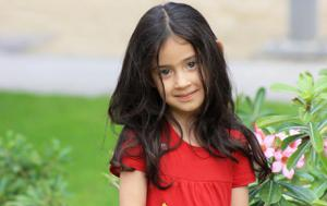 young girl with long dark hair
