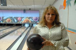 woman with a bowling ball