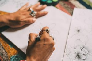 woman drawing a picture
