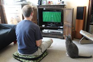 man playing soccer video game