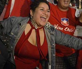 A woman celebrating Chile