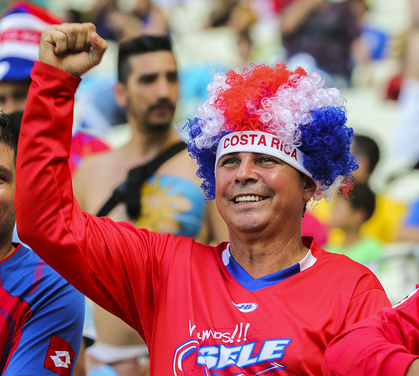 A man dressed in the colors of Costa Rica